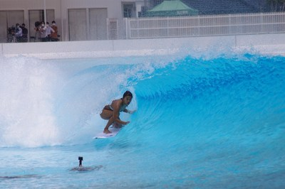Mahina Maeda riding the barrel in preparation for surfing's Olympic debut.